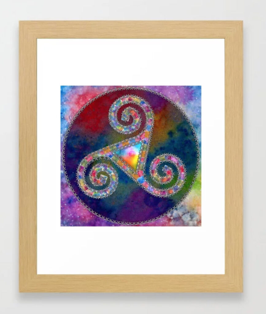 Trisquel with Watercolor Background Framed Art Print by LuCancio