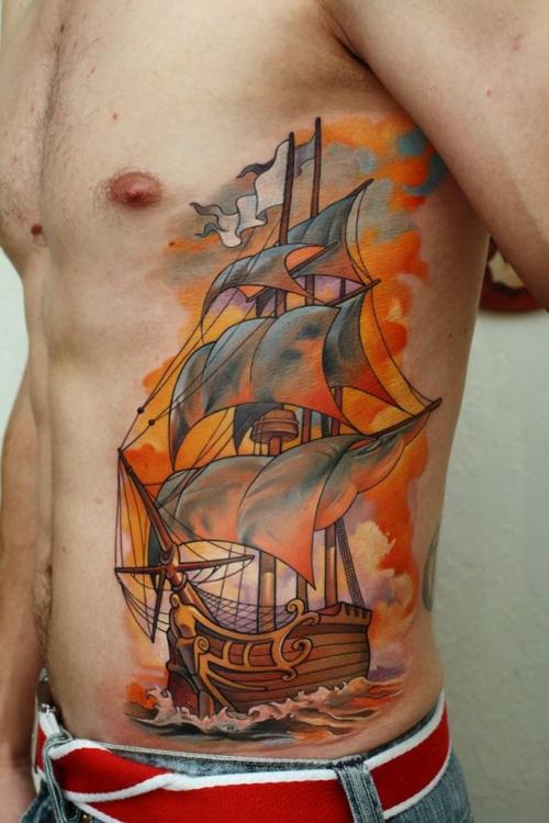 by Dmitriy Samohin Tatuajes de barcos