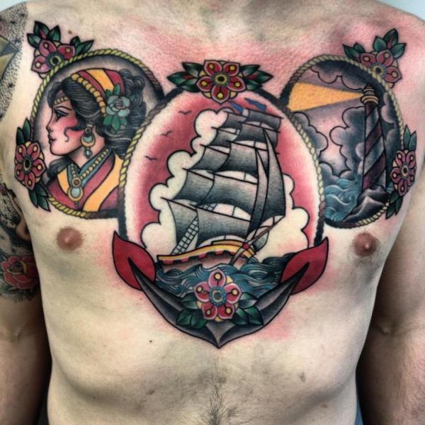 by Three Kings Tattoo tatuajes barcos