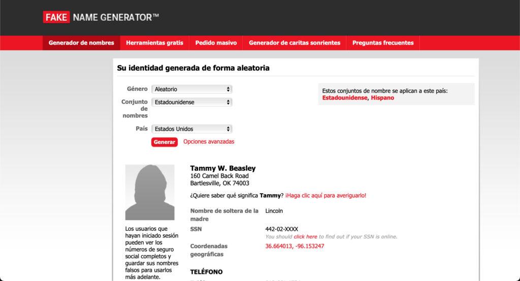 Fake Name Generator - Páginas web inútiles