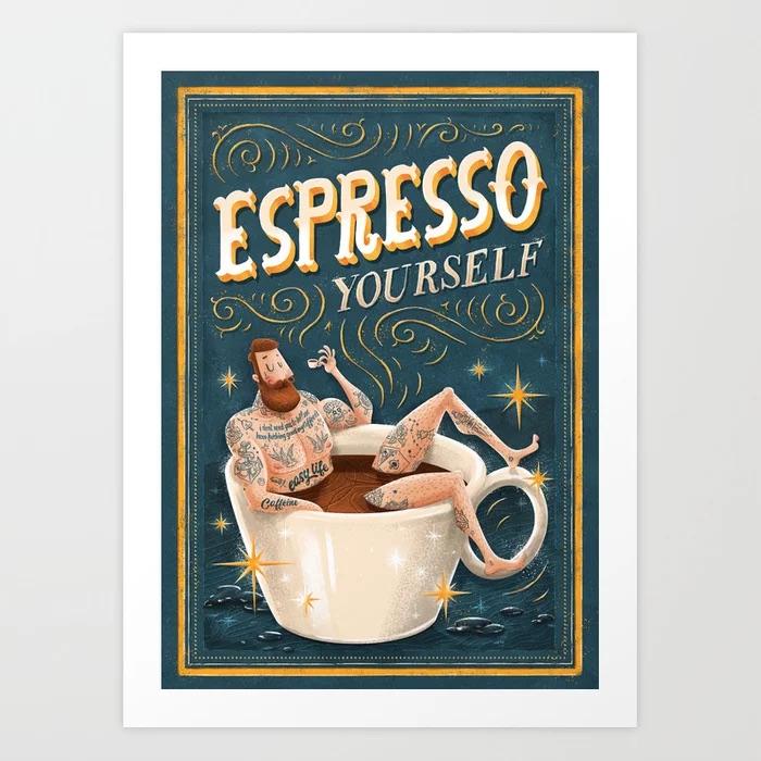 Drop Coffee Not Bombs Framed Art Print