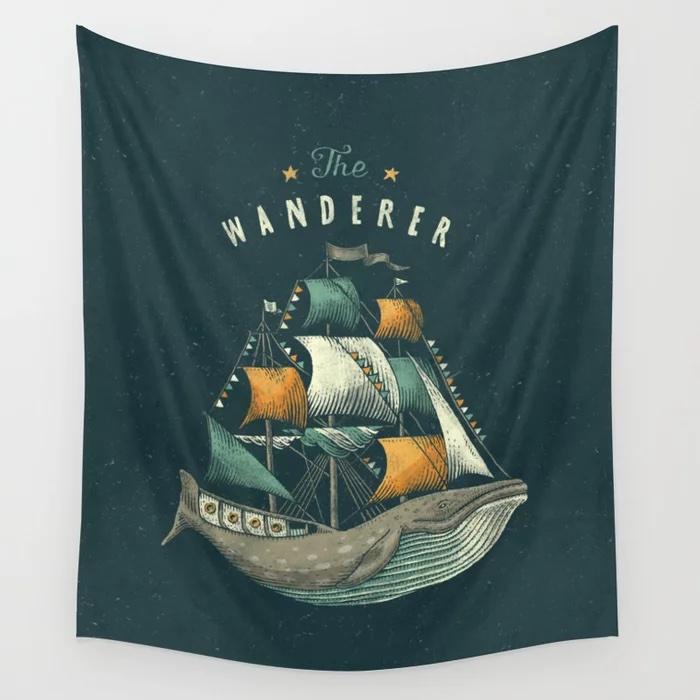 Whale | Petrol Grey Wall Tapestry - Seaside Spirit art print society6