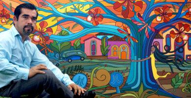 """Artista mexicano Antonio Mendoza y su obra """"Abre tus brazos fuertes a la vida"""", 2020"""
