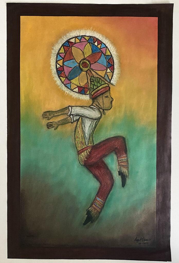 Totonaca danzante - obra en pastel en venta en México
